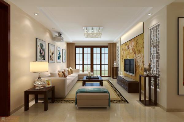 客厅的电视背景墙为古典艺术画为衬托整体空间的中式风格,客厅与外界以方格玻璃窗同时增强了客厅的亮度