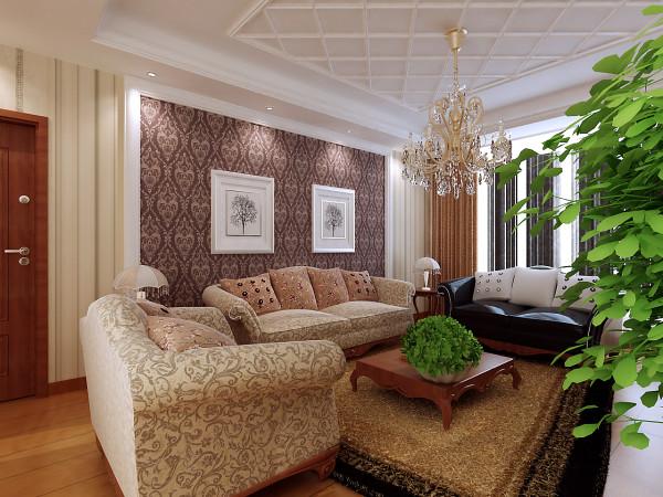 客厅的主体颜色为黄色和淡黄色,米白色通体砖用在开放式厨房和餐厅,客厅地面黄色复古瓷砖铺褐色复古砖圈边处理会把空间扩大的感觉体现出来。