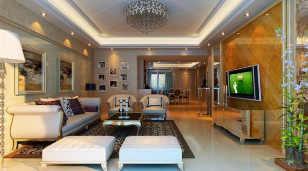 客厅它是供主人和客人闲谈休息的地方,很纯粹的一种休闲。这一区域把尊贵和优雅表现得淋漓尽致。沙发布料选择了纯色,与墙面的金色遥相辉映,对比和谐,层次有序。