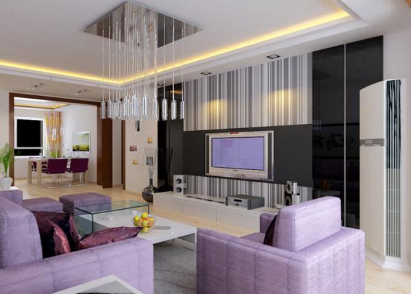 6平沙发背景紫色与白色的对峙,大胆鲜明对比强烈的色彩布置,是大胆的色觉撞击,在简单的白色家具上又搭配绿植,简约又不失生命气息,对于年轻人来说,这也是繁忙工作中的那一股活力。