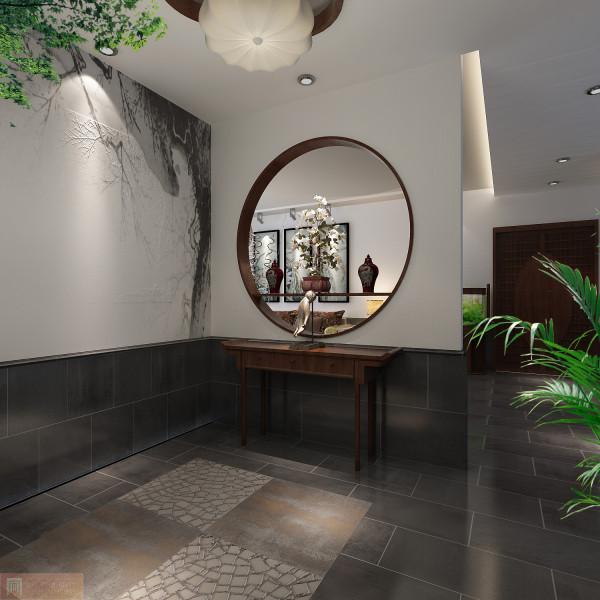 玄关:以圆形墙透视客厅,墙面的古代画