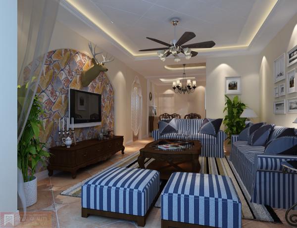 客厅:以客厅沙发与影视墙用于地中海风格设计及玄关门的设计,让人心情愉悦