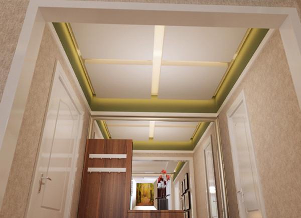 顶面造型规整,层次丰富,鞋帽柜后整面的镜子,既满足实用的需求有增加了门厅的空间感。