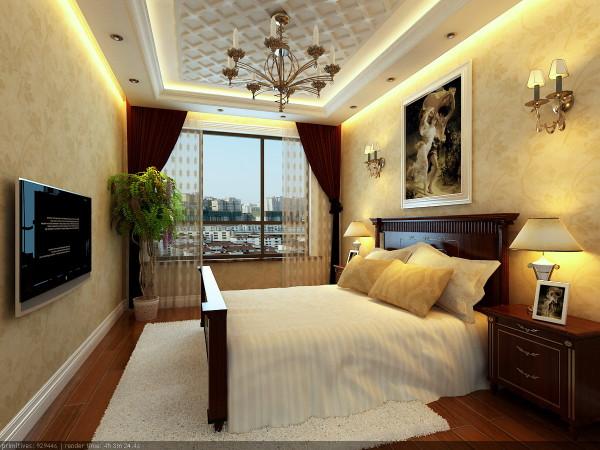墙面采用暖色壁纸,温馨舒适。