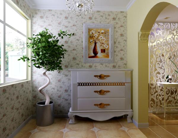 阳台与客厅通过拱形垭口与地砖的不同来区分,仿古砖、小碎花壁纸、白色家具使整体有种小清新的感觉