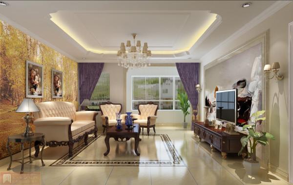 客厅:吊灯在整个空间的作用较大,让整体空间明亮而高贵