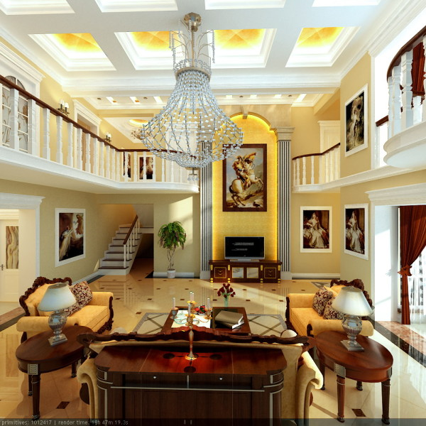 地面拼花式设计,彰显大气之美,顶部采用金箔壁纸,增加富贵之气。