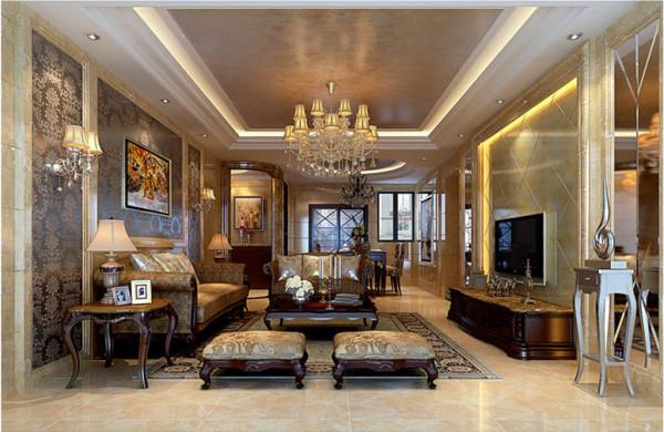 设计理念:不同性质的建材与家具,塑造了业主不凡的品位与形象。以石材、釉面砖搭配车边镜面组合成的背景墙稳重而又不缺乏质感美,与沙发背景深色暗花涂料相互对比映衬,更能营造出视觉平衡的和谐美。