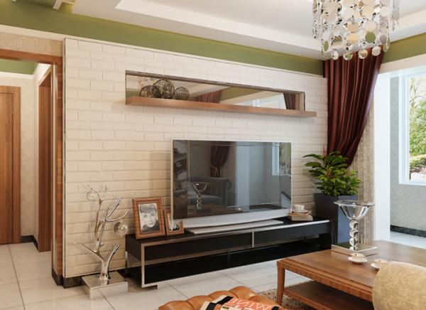 整体风格现代,墙面装饰层次丰富,大面积素雅的壁纸,上部分以挂镜线区分,用橄榄绿色的乳胶漆满足业主的国外生活经历,电视墙简约新型,采用白色文化石做元素,加以咖色镜子原木色搭配,增加空间的层次。