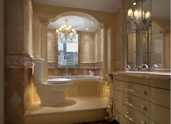 精致的石材砖搭配典雅的浴室柜,让空间顿时变得奢华高贵