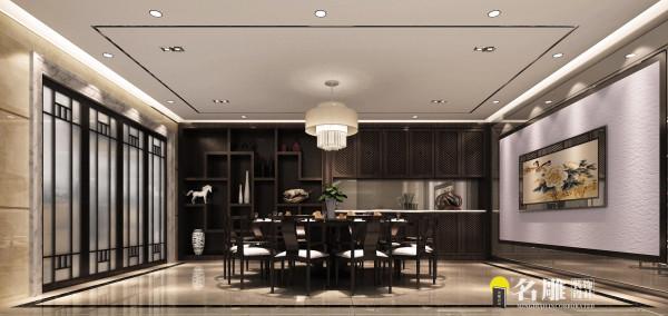 名雕装饰设计——餐厅:巨大的传统壁画,中式门窗,以及餐桌椅让整个餐厅古朴而不失华丽,温馨而不失浪漫。