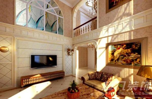 河南超凡装饰总部设计师作品-大河龙城360平欧式装修案例(客厅)