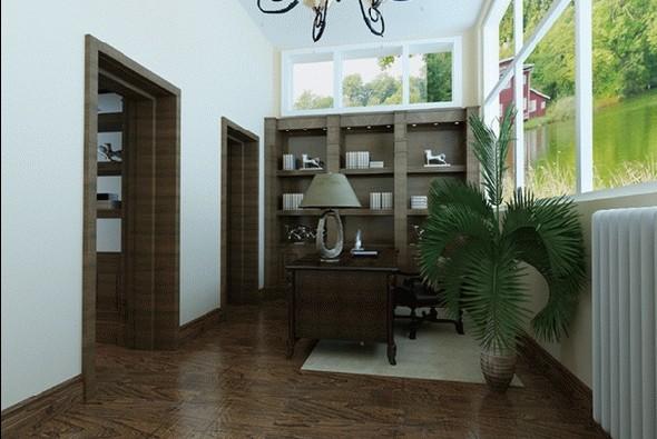 书房:主要考虑光线的运用,为业主打造一个高雅的学习和办公的环境。