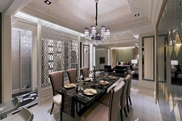 黄金镜、茶镜、灰镜三种不同颜色做成的组合镜,透过导角立体度,给予优雅的用餐环境。