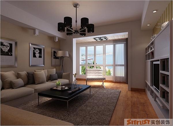 客厅是整个房子的重心,需要突出设计的亮点所在。设计亮点:客户是爱书一组,整个电视背景墙需要考虑整体的放书的柜子,另外女主人喜欢地毯,所以在地板的搭配上选择的深色具有手抓纹的质感性比较强的感觉