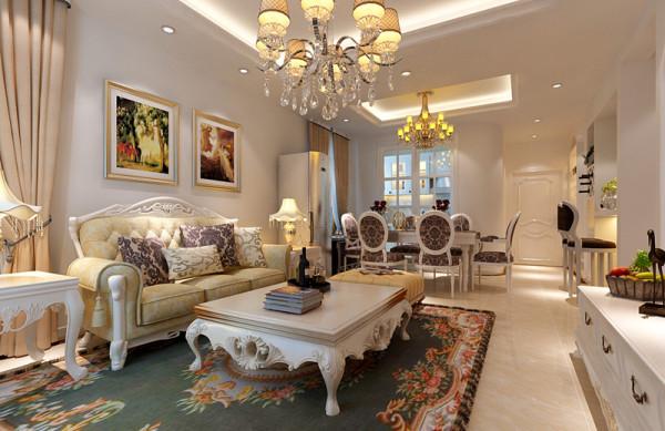 浪漫客厅设计理念:除去欧式繁杂的造型,以简洁的造型为主,家具色彩上也以白色为主减少传统欧式家具的厚重感。