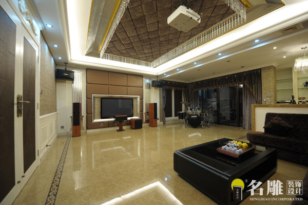 名雕装饰设计——影音室:影视音乐娱乐厅,时尚大气。