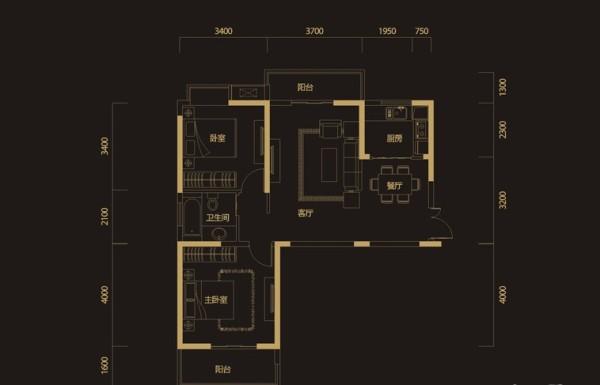 95平福星惠誉水岸国际两居室欧式典雅装修设计
