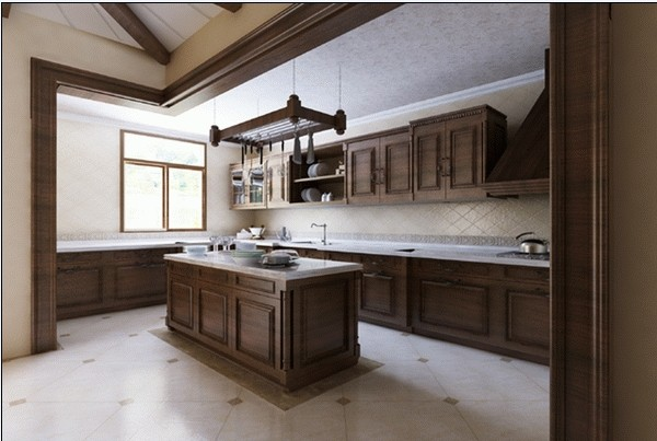 厨房:墙面采用了瓷砖花铺法,以深色实木为主要材质,在整体风格上和整个房间形成统一。