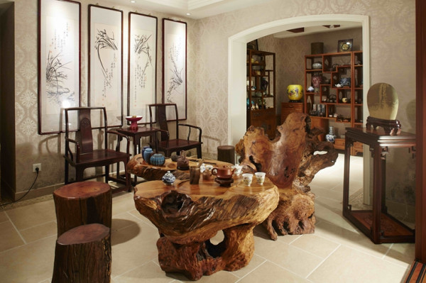 茶室:一天繁忙工作后,约几个朋友在此品茗聊天、放松心情。