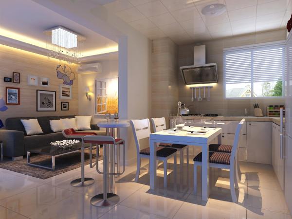 厨房做成开放式的,L型的空间,乳白色的橱柜,干净利索;拐角处的小吧台既区分开了餐客厅,又起到很好的实用价值。