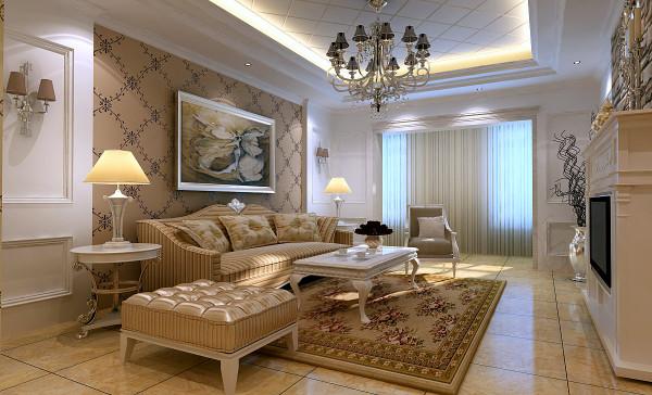 客厅使用白色造型点缀,充分弥补了客厅采光不足的弊端,背景墙采用壁炉的形式,显得更有感觉~