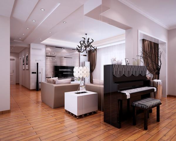 会客厅的色彩承袭了全房的基调,业主女儿的钢琴完美的融合在各个公共区域之间,变一点为全部