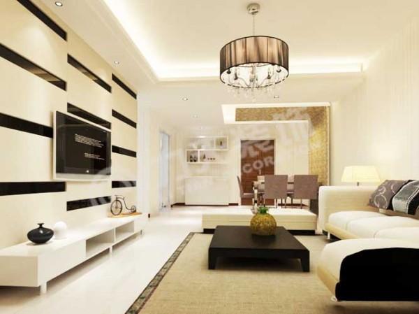 客厅采用非常简洁的设计手法,但却不失时尚和美感。