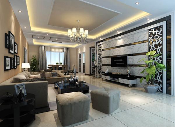 电视背景墙全大理石铺贴,镶嵌银灰色装饰镜,两端的雕花搭配完美。