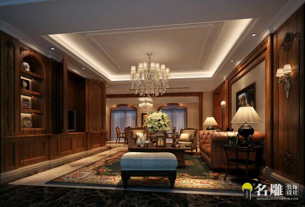 客厅:运用复古的地砖、深色做旧木色、休闲的皮质沙发与布艺沙发的结合,营造乡村美式的空间氛围。