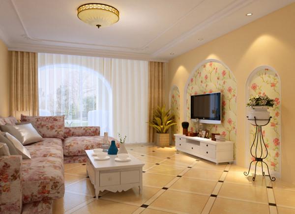 客厅设计理念:客户夫妻二人崇尚自然清新,喜欢简单干净的家具,但也要求电视背景墙有亮点,所以我们采用欧式古典主义三段式的美学原理,设计的背景墙面