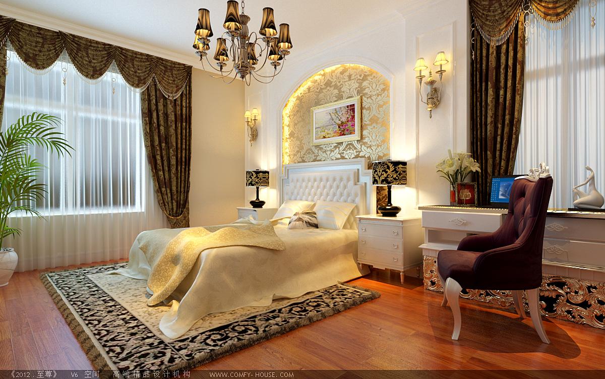 主卧床头背景墙用欧式典型的拱形门做修饰,配上大花壁纸,显得尤为富贵图片