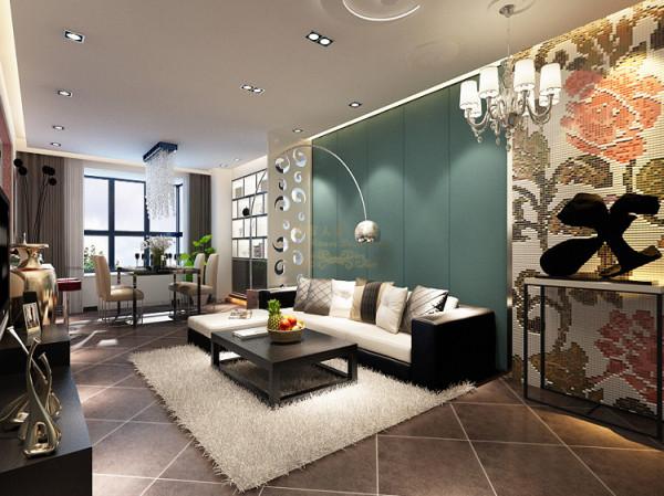 沙发背景墨绿软包与入户拼花及厨房导台的红白马赛克相互呼应更显协调。开放式厨房使整个室内空间更显通透美观,黑色墙砖白色橱柜更是电视墙面的空间延伸。