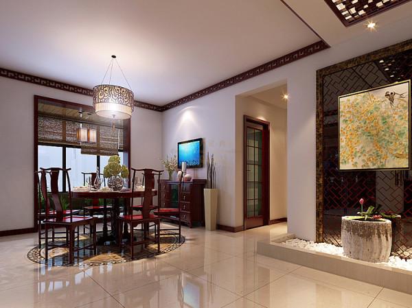 餐厅圆桌下面对应家具和灯具做中式祥云图案拼图,增加地面效果。