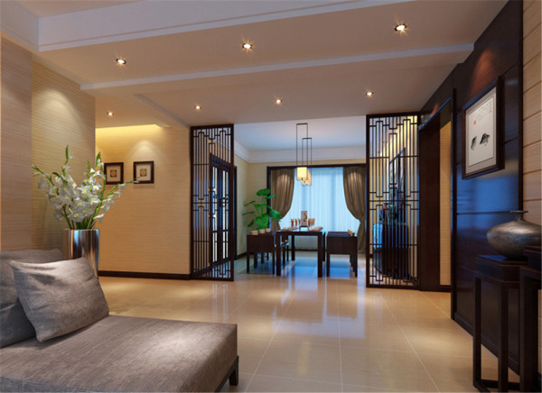 设计理念:餐厅的设计,在色彩上体现了一种自然的色调。家具仍然选用古香古色的木质餐桌椅,造型简约突出设计感。同样中式风格的挂灯与餐桌上下呼应,给人以稳重均衡感。