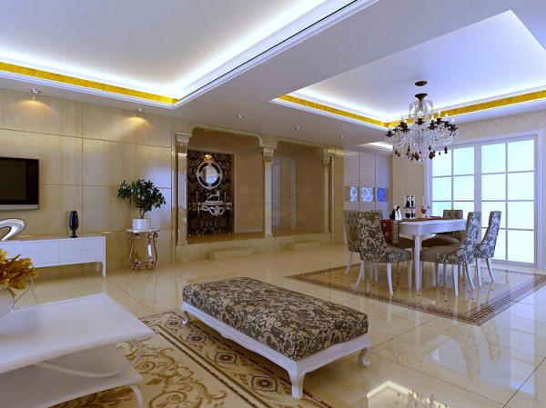 客厅和餐厅以优美的线条展现,电视背景墙运用了仿玉石全抛仿古砖,地面运用局部简单拼花砖造型使空间更有层次感。