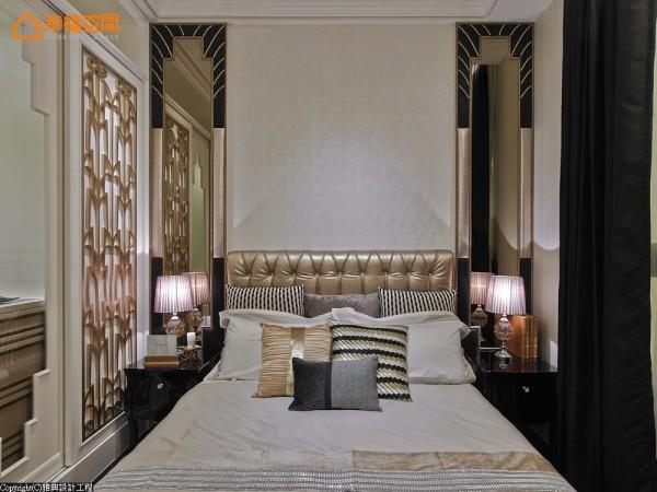 落地式的大衣柜以金属饰板创造华丽感,考虑到使用机能以拉门的形式开阖。