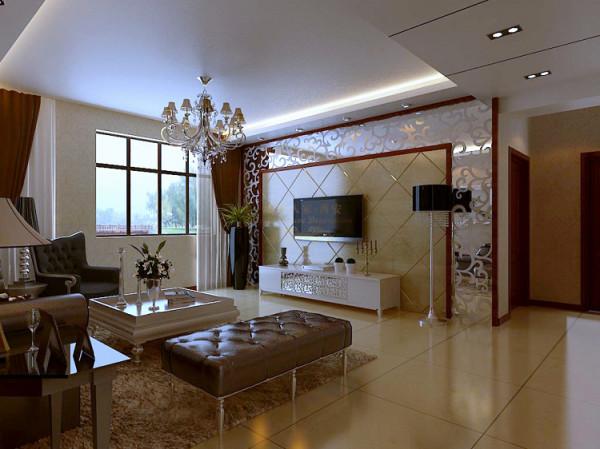 在电视墙的设计上采用了镜面和瓷砖相结合的手法,通过镜面反射窗外的自然光线来补充室内采光,使客厅显的明亮,气派。