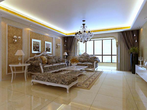 沙发背景设计采用简单手法但不失大气。