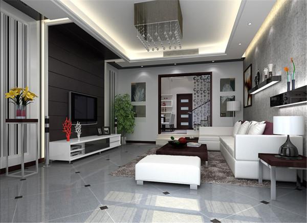 客厅以白色为主调,看起来沉稳大方,再搭配深色的电视背景墙,精致而浪漫,再加上浅色的沙发使人眼前一亮,整个客厅用简单的明亮色来营造一种明媚,将整个客厅的拘谨氛围一扫而空。