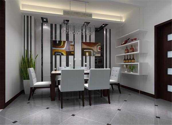 餐厅中极具个性的吊灯,将整个空间映照得格外明亮,灯带昏黄的灯光打破了空间的冷调氛围,再配以现代感十足的餐桌,餐椅,营造出一种简约而温馨的空间