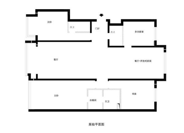 老山西街10号院200平米四居室-原始户型图