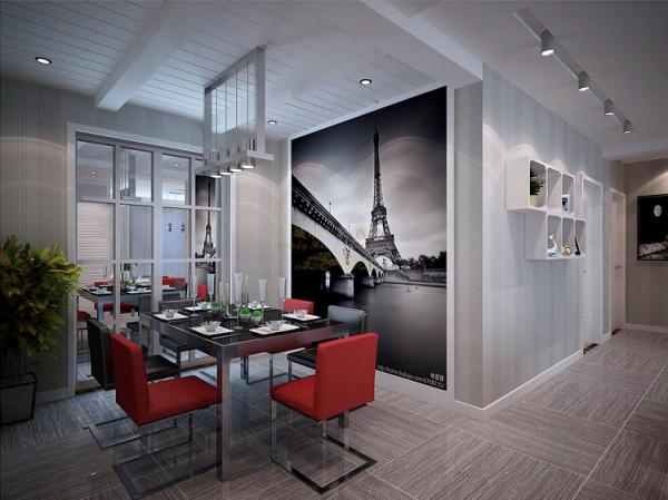 餐厅区域顶部吊顶加入了假梁的元素来弱化原有横梁过深的感觉,做等分造型,再加上石膏板吊顶横勾缝处理后,造型简单明快又清新。