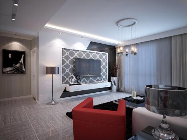 电视墙局部运用了黑色镜面来提亮,客餐厅坐具都建议选择皮质的,方便打理、舒适度好、耐用的同时,又能增强质感。