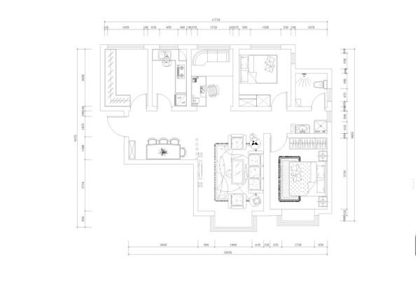 户型分析:     此房型为二室一厅一厨一卫的居室设计,进门左面是一个衣帽间,后面是厨房,进门右面是客厅,在客厅与餐厅中间的过道很宽敞,给人以通透的感觉。