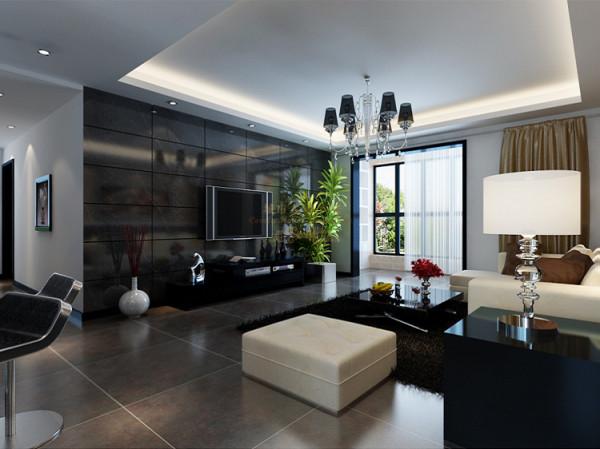 电视墙大胆的用黑色沙岩砖为主。黑色沙岩砖起到延伸空间,沙发背景墙用壁纸可以使墙面更有质感。让房间的色彩更加丰富。