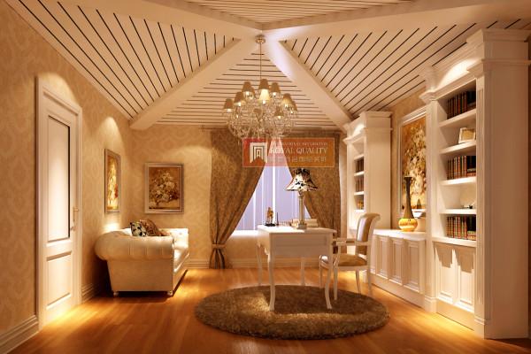书房的设计:白色的书柜与白色的实木三角形吊顶,让整个空间简单明亮,周末休闲时光泡上一杯淡淡的清茶,徜徉在书海,舒适的度过周末的舒适时光。
