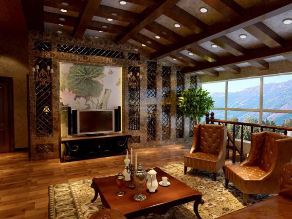 客厅深色系的电视背景墙,深色系的窗帘,和古典色彩的地毯相呼应的吊灯,加上造型简洁大方的沙发构成了一个典型的欧洲世界。