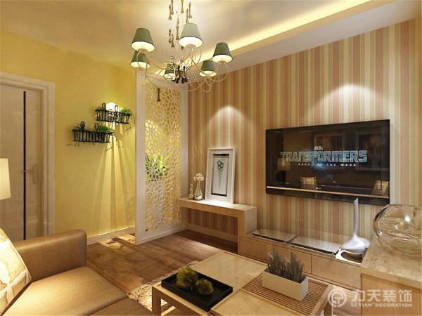 吊灯,壁纸背景墙,电视柜,巧妙的结合,经典。