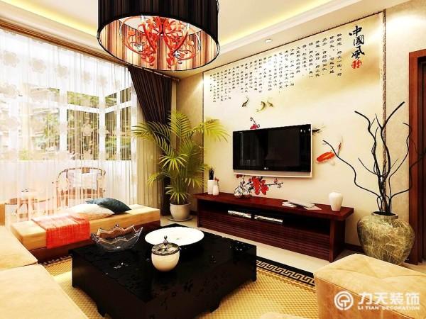 中国风味的山水花鸟鱼虫,让电视墙更加的活泼